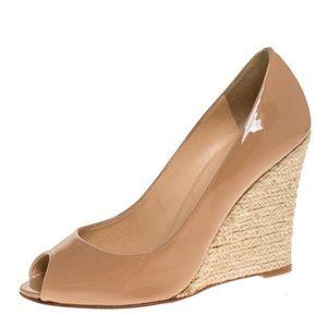 Christian Luoboutin Espadrille peep toe wedge shoe